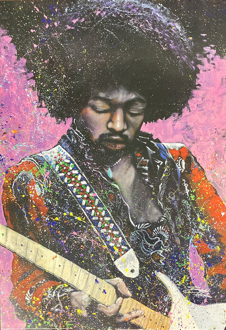 Jimi Hendrix Poster by: Stephen Fishwick 24-by-36 Inches Image