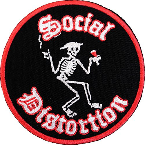 """Social Distortion Skeleton Logo - Iron On Embroidered Patch 3"""" Round Image"""