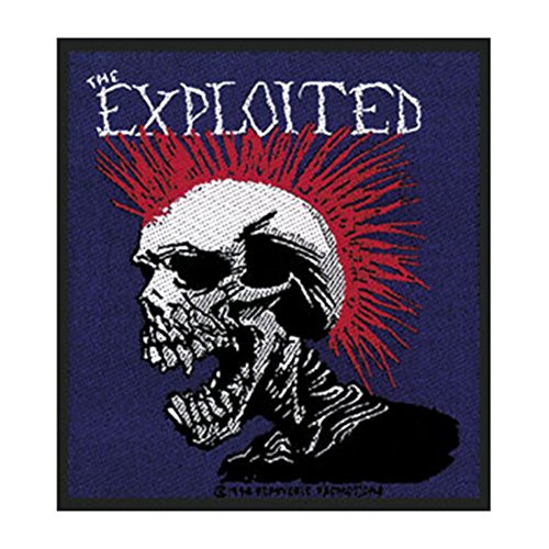 """The Exploited Mohican Skull - Woven Sew On Patch 3.75"""" x 2.75"""" Image"""