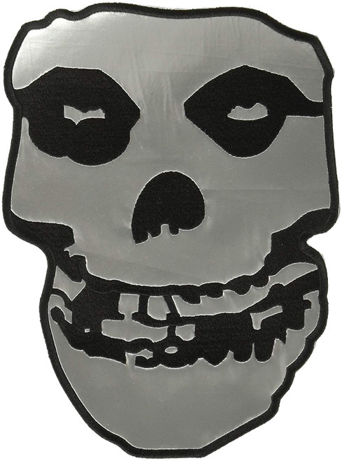 """Misfits Skull - Silver Vinyl with Embroidered Edges Back Patch 7.1"""" x 10"""" Image"""