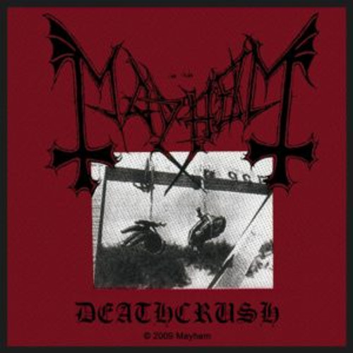 "Mayhem Deathcrush - Woven Sew On Patch 4"" x 4"" Image"