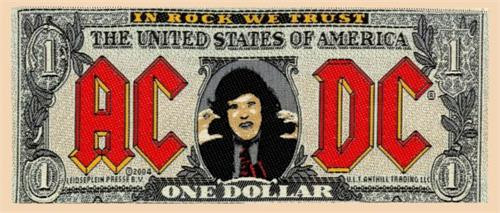 "AC/DC Bank Note Dollar Bill - Woven Sew On Patch 6.5"" x 2.5"" Image"