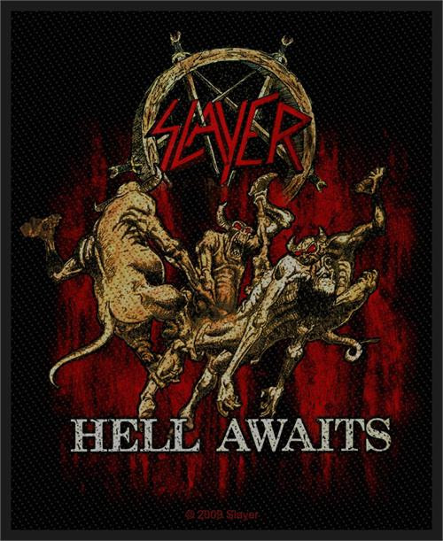 """Slayer Hell  Awaits - Woven Sew On Patch 3"""" x 3.25"""" Image"""