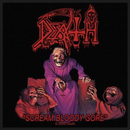 "Death Scream Bloody Gore - Woven Sew On Patch 4"" x 4"" Image"
