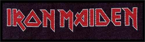 """Iron Maiden Logo - Woven Sew On Patch 8"""" x 2"""" Image"""