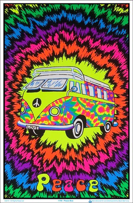 Peace Bus Flocked Blacklight Poster Image