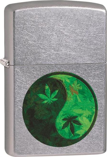 Marijuana Leaf Yin Yang - Street Chrome Zippo Lighter