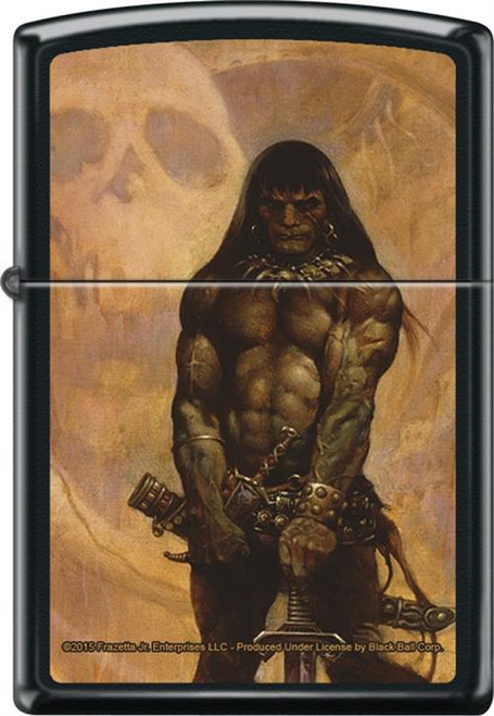 Frazetta - Barbarian - Black Matte Zippo Lighter