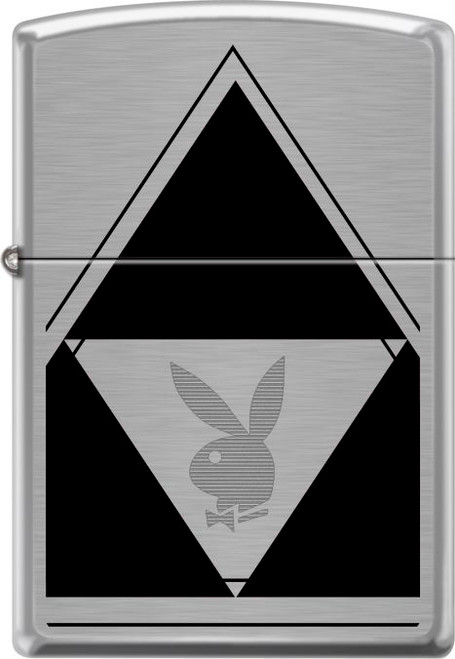Playboy - Logo Brushed Chrome Zippo Lighter