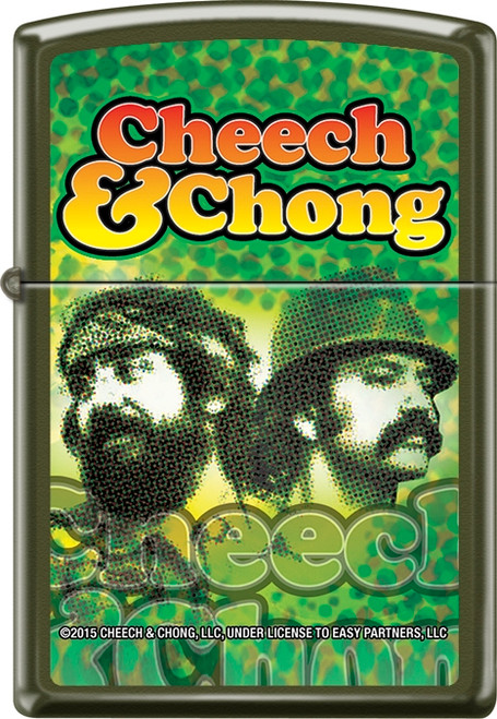 Cheech & Chong - Reflection - Green Matte Zippo Lighter