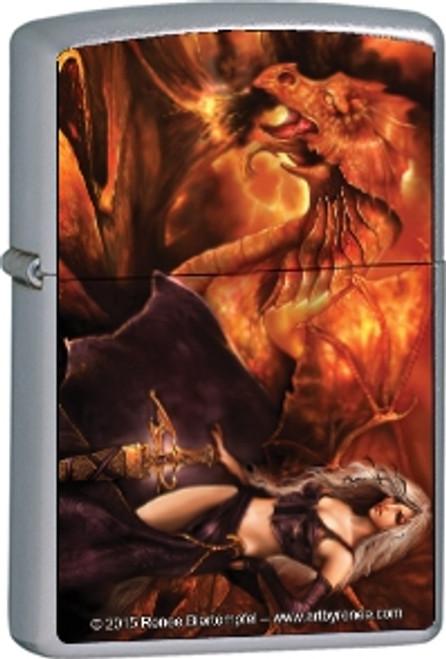 Dragon's Keeper - Renee Biertempfel -  Brushed Chrome Zippo Lighter
