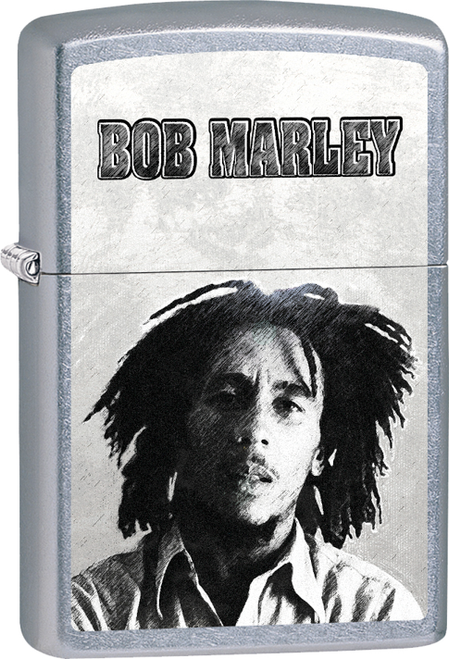 Bob Marley - B&W Face Street Chrome Zippo Lighter