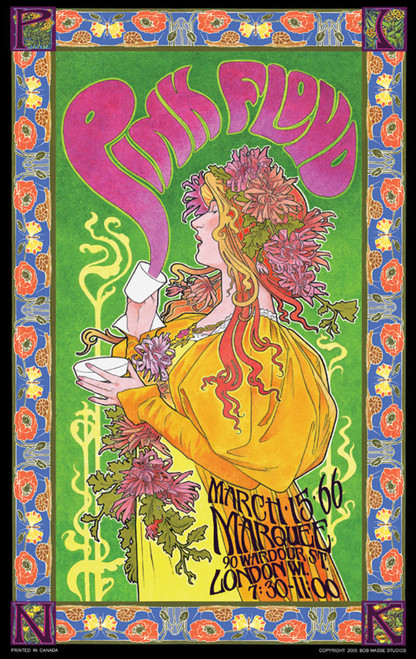 Pink Floyd Marquee '66 Poster by: Bob Masse 24-by-36 Inches