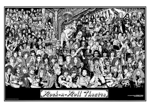 Rock n Roll Theater by Howard Teman Art Poster 36-by-24 Inches
