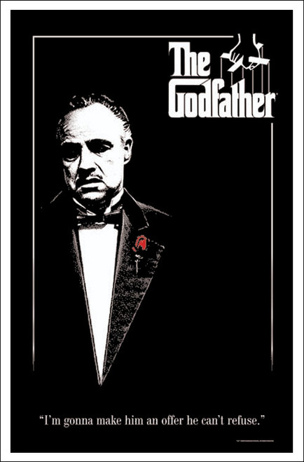 """The Godfather - Flocked Blacklight Poster 23"""" X 35"""""""