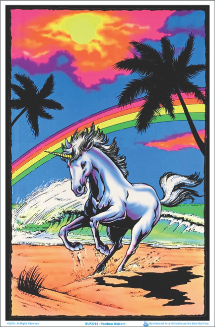 Image of Galloping Unicorn with Rainbow - Blacklight Poster