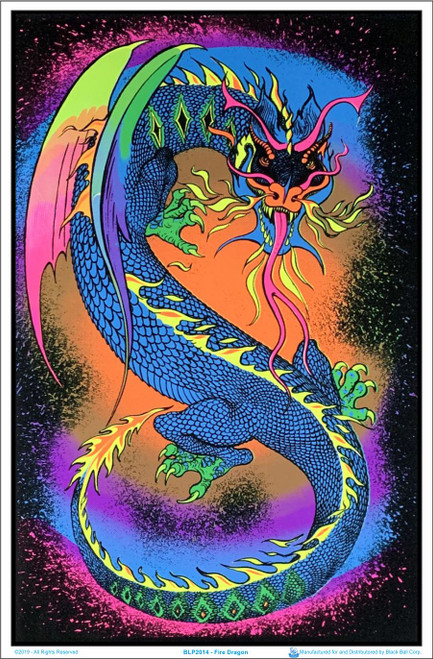 Image of Fire Breathing Dragon - Blacklight Flocked Poster