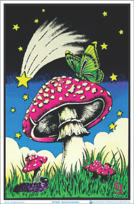 Mushroom Butterfly Flocked Blacklight Poster Image