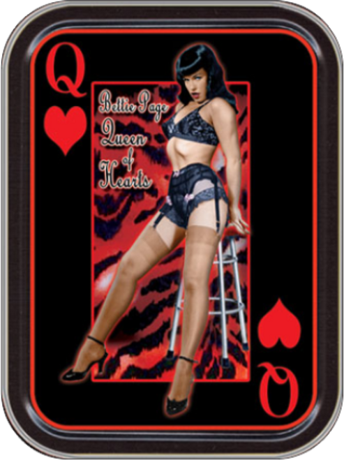 Bettie Page Queen of Hearts Stash Tin Storage Container Image