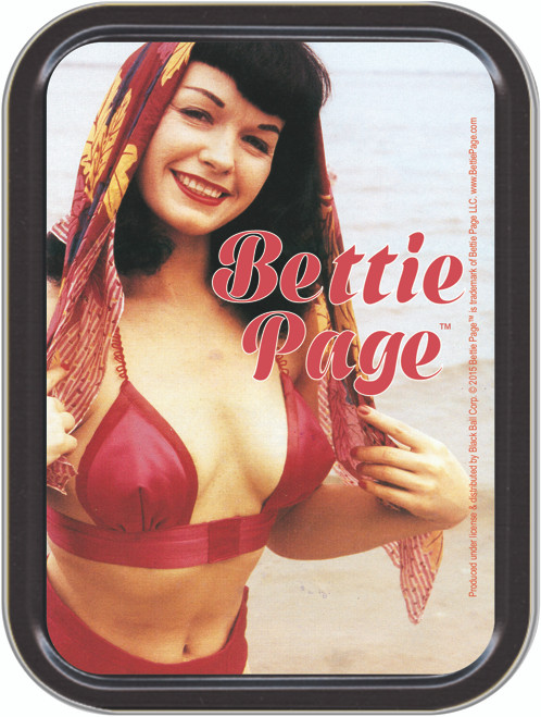 Bettie Page Red Stash Tin Storage Container Image