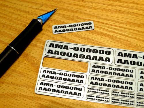 FAA / AMA Labels Custom Label Order - Black Letters