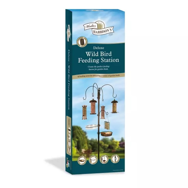 Walter Harrison's Wild Bird Feeding Station is made of metal and is easy to assemble. It provides your garden birds with 6 different feeding areas.Includes water and feeding dish. Feeders sold seperately.