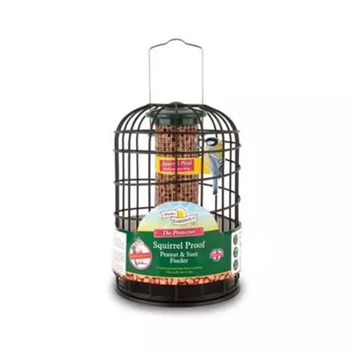 Harrisons Cast Protector Peanut & Suet Feeder. Specially designed to prevent squirrels stealing and eating bird seed. This feeder comes with a die-cast protective cage that allows access for small birds but prevents squirrels from getting to the seed. Perfect for feeding peanuts and suet pellets. Easy to fill and clean,