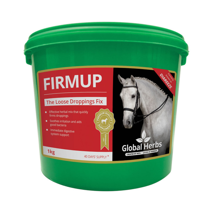 FirmUphelps to maintain normal and healthy droppings. FirmUp works quickly to encourage firmer stools. This natural herbal supplement has a gentle and soothing action which supports the growth of good bacteria in the gut. Ideal for use when the grass becomes rich or where there are other feeding concerns.