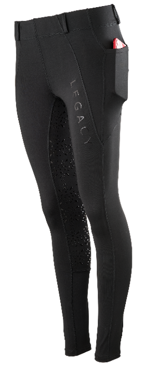 The new Legacy Kids Riding tights offer riders the style and comfort they're looking for. This new addition to the Legacy Legwear range is made with a breathable 4-way stretch material that is 100% non see-through and has fantastic sweat wicking properties, making them the perfect choice for warmer days and everyday wear. Designed with the rider in mind, our subtle branding and stylish design complete with handy phone pockets, belt loops and a full silicone seat ensures that every time you sit in the saddle wearing Legacy Riding Tights you'll only ever need to focus on your horse.