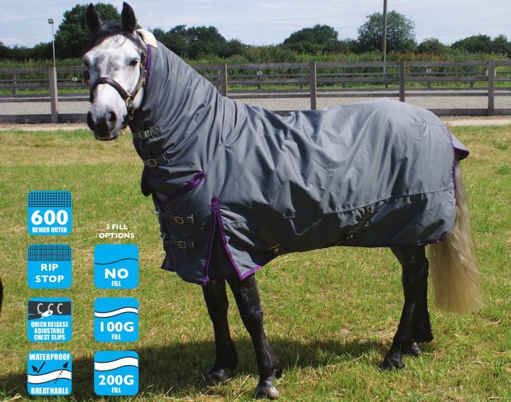 Legacy turnout rugs are manufactured using the highest quality 600D ballistic Nylon outer. They are 100% waterproof and breathable ensuring a very high level of protection from the elements. Ripstop technology is also standard on all turnout rugs. We use a deep cut body and high shoulder gussets providing a warm and flexible rug for your horse.