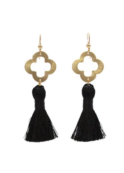 Blakely Tassel Earrings- Black