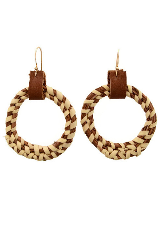 Sweetgrass Hoops with Leather