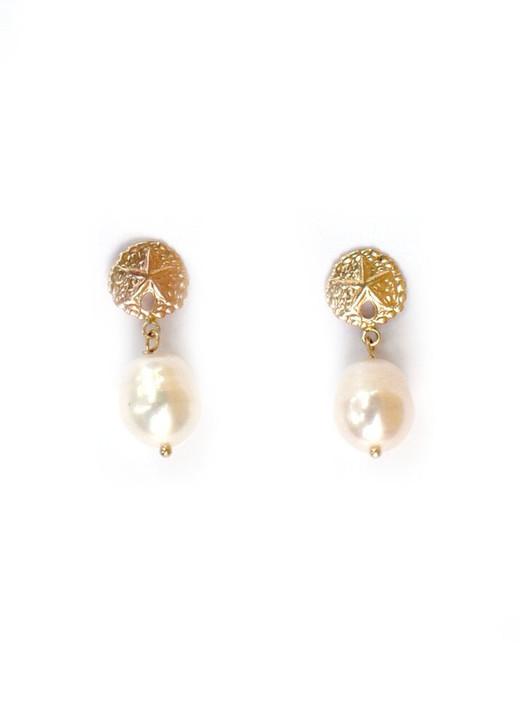 Sullivan Sand Dollar Earrings- White Pearl