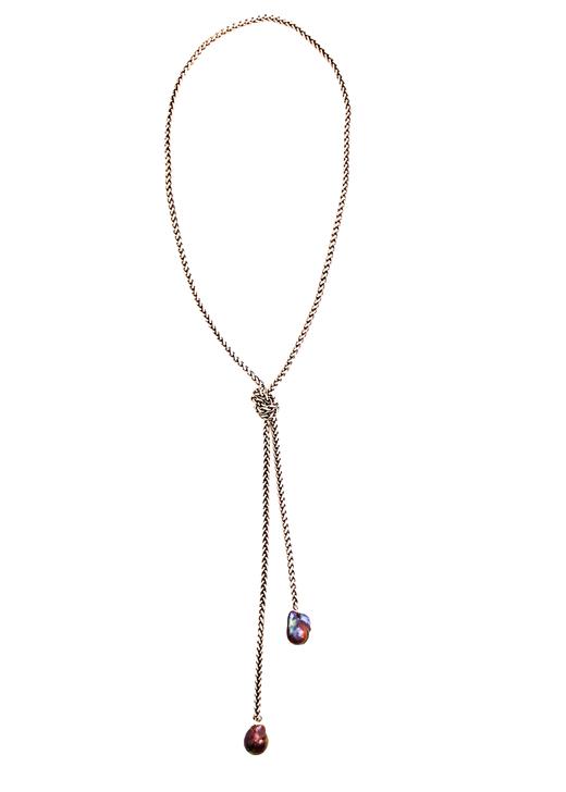 Legare Gunmetal Lariat- Peacock Pearl
