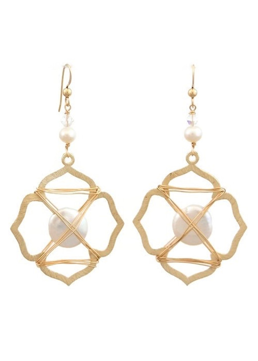 Caged Pearl Earrings- Gold