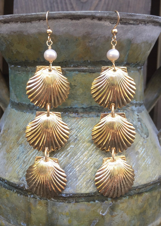 Savannah Shell Earrings- Silver