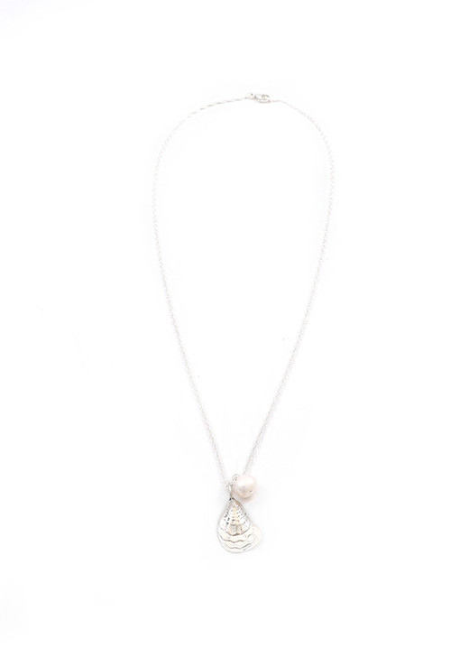 Oyster Shell and Pearl Necklace- Silver