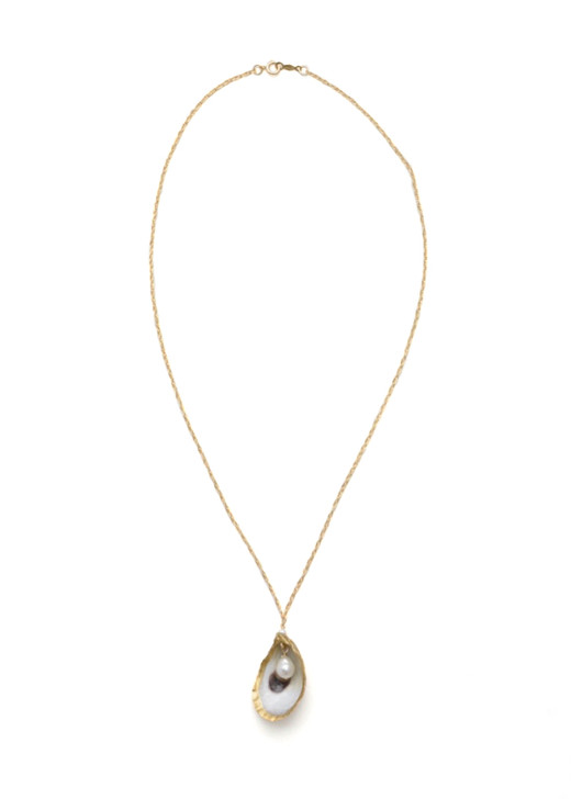 Hobcaw Oyster Necklace- Gold