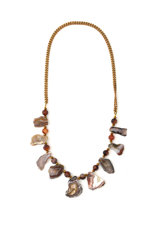 Long Agate Slice Necklace