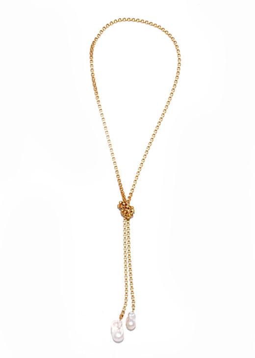 Lasso Lariat Gold- White Pearl