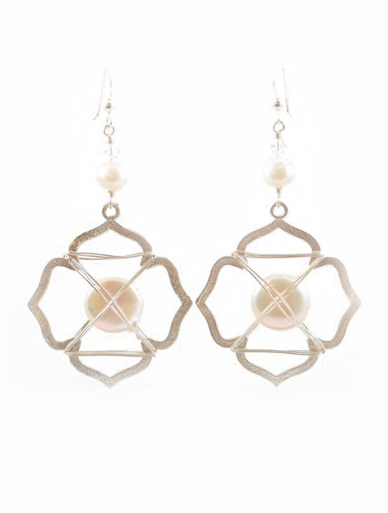 Caged Pearl Earrings- Silver