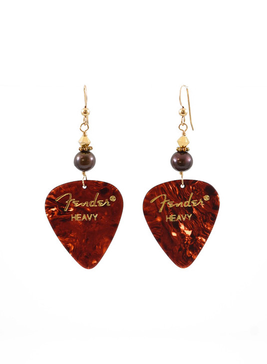 Fender Guitar Pick Earrings- Tortoise Shell