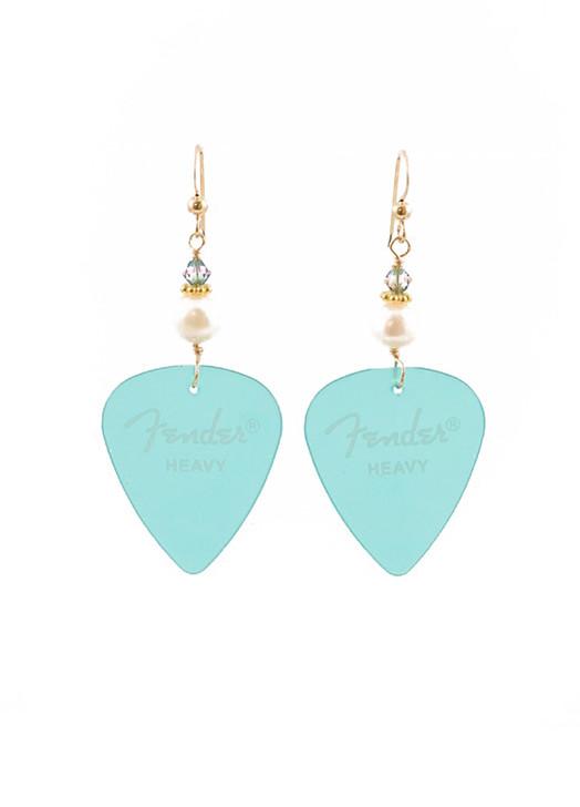Fender Guitar Pick Earrings- Turquoise