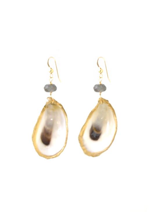 Lowcountry Oyster Earrings- Labradorite