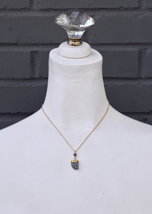 Fin Necklace- Rutilated Quartz