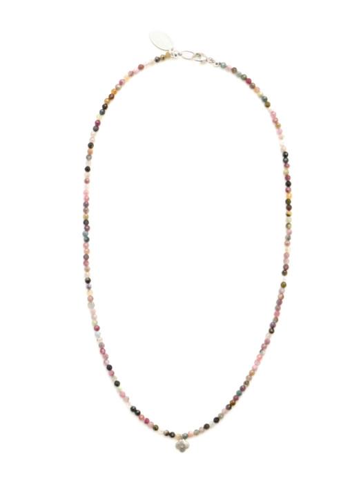 Diamond Clover Necklace- Tourmaline