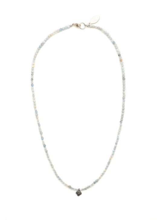 Diamond Clover Necklace- Aquamarine