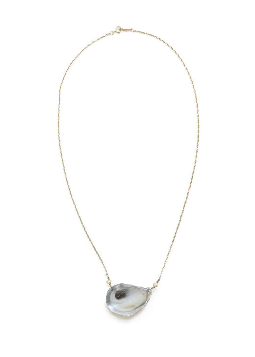 Cooper Oyster Necklace- Silver