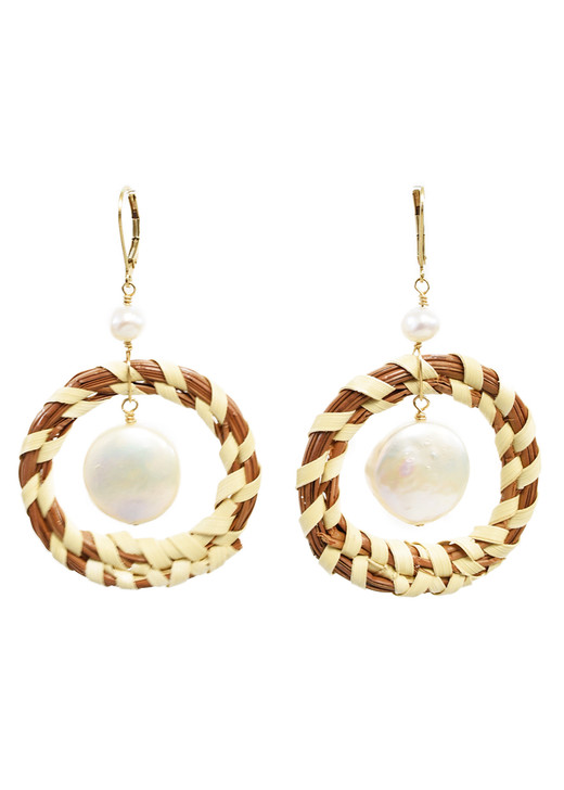 Sweetgrass Coin Pearl Earrings