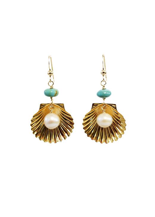 Marina Shell Earrings- Turquoise
